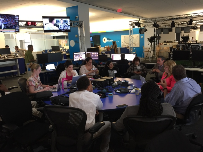 USA Today editor's meeting with Back in the Newsroom Fellows